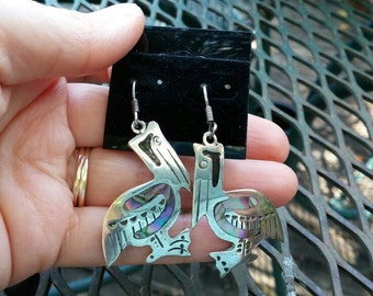 Pelican Abalone Sterling Silver Dangle Earrings Mexico
