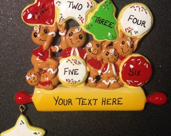 Personalized 6 Gingerbread Family Ornament