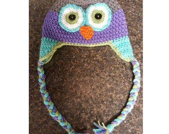 Crocheted Owl Hat for Sizes Newborn-Toddler
