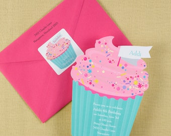 Cupcake Invitation Cupcake Invite Cupcake Birthday Invitation First Birthday Invitation