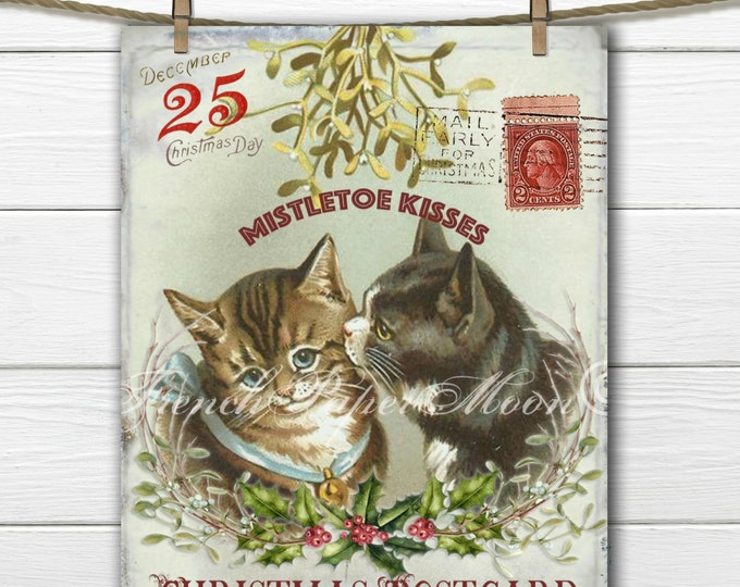 Adorable Vintage Digital Cat Christmas Postcard, Pair of Cats Kissing under the mistletoe, Instant Download Image Transfer Printable