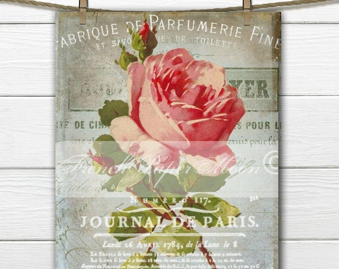 Digital Victorian Rose Collage, french Graphics, Catherine Klein, Large Instant Download French Image Printable, Rose Transfer