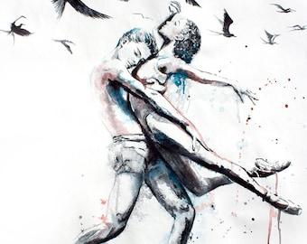 Original Watercolor Painting. Wall art, dancing couple. Let her do.  Watercolor dancing couple with flying birds.