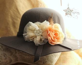 Grey felt floppy hat - felt hat - sun hat - children's hat - floppy hat - felt hat -  girls floppy hat - girl's hat - fashion hat - kids hat