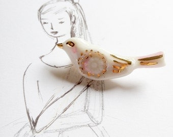 ceramic jewelry, porcelain bird brooch, lovely and tiny bird