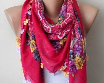 pink scarf  yellow flower green  purple white aidaidris cotton turkish yemeni oya handmade scarf