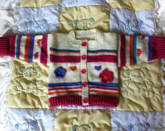 Cream cardigan with crochet flowers tiny baby