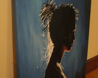 Silhouette in Blue painting by Pamela Henry wall art wall decor modest young lady