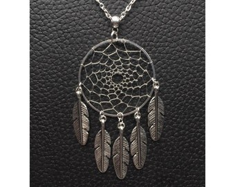 Silver dream catcher necklace with silver feather charms dreamcatcher