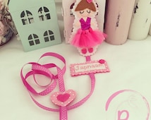 Personalised Ballerina Hair clip holder with tulle tutu