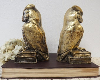 Set of 2 Owl Statues Figurines, Gold Owls on Books - Library Decor