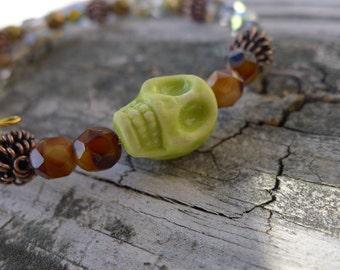 Green Skull Memory Wire Bracelet