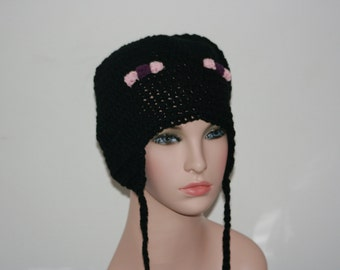 Enderman Minecraft 'Inspired' Crochet Earflap Hat. Pink and Purple Eyes. All sizes available. Great gift for Minecraft Enthusiast. Halloween