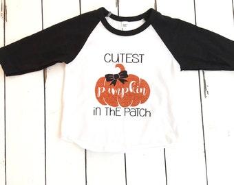 Cutest pumpkin in the patch, girls raglan, fall, halloween shirt, pumpkin patch photos