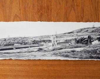 B+W Husky Panoramic 7x23 inch giclee fine art photography print with torn edge