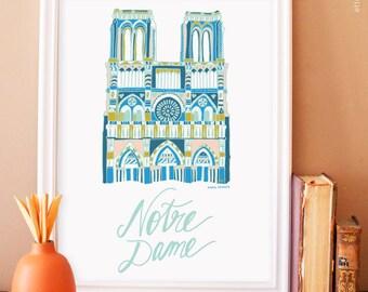 Notre Dame Illustration No.3 - blue sacre coeur art print. french wall art. apartment decor. paris art print. nursery art print.