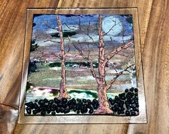 Tree Glass Panel, Translucent Glass Panel, Black Tree Glass Panel, Fused Glass Tree Panel, Black Fused Glass Panel