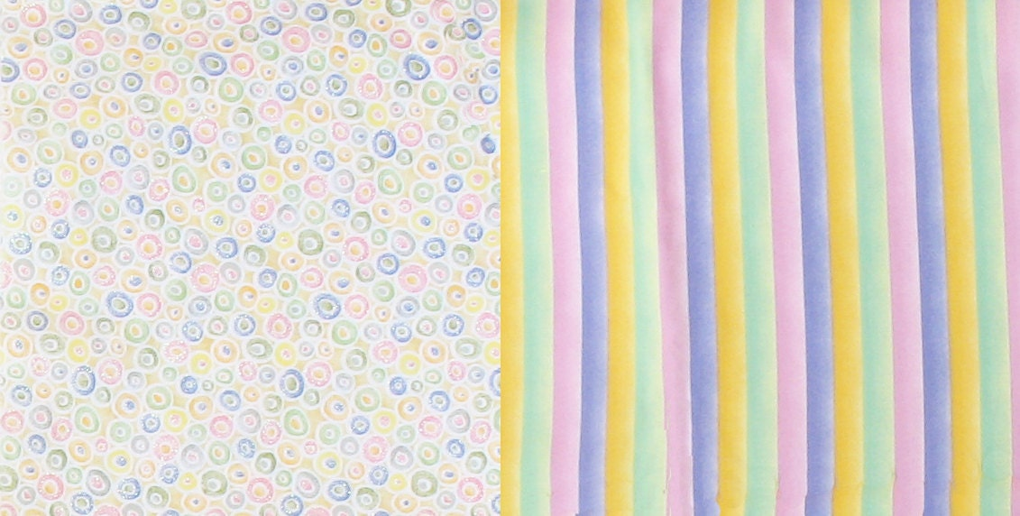 2 yards pastel quilt fabrics stripes circles mid century for Pastel galaxy fabric
