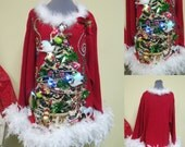 A Partridge 2 Doves, a Pear & a Squirrel in a Christmas Tree Tacky Ugly Christmas Sweater Mini Dress Light UP  Feathers Sz 3x  26/28