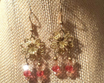 Dangling Stamped Brass,Flower Earrings with Dangling Peach Swarovski Crystals Crystal and Brass Flower Earrings Floral Earrings