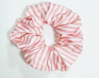 Large Candy Striped Pink Hair Scrunchie Stripey 90s Stripes Ties Bun Wraps Elastics Girl Gang Femme Accessory Cute Vintage Girly Gift Kawaii