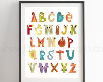 Bird Alphabet Poster - Nursery Wall Art - Playroom Poster, Alphabet Wall Art, Alphabet Nursery Art, Alphabet Nursery, Nursery Art, 22-0019