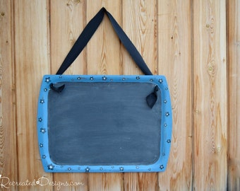 Black and Blue Flowered Chalkboard