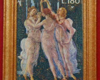 "Dollhouse Framed Fine Art Stamp ""The Three Graces"" Botticelli"