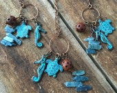 Patina Ocean Seahorse Turtle Leather Pendant Necklace, Patina Copper Metal Charm Hoop Necklace, Genuine Kyanite