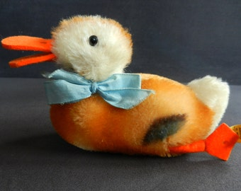 RARE Steiff duck with ribbons from the 60s with button and cloth
