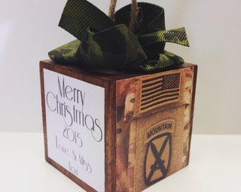 Personalized Military Appreciation Christmas Ornament with Camo ribbon