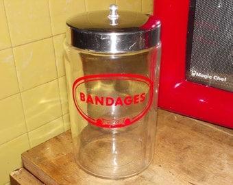 vintage medical bandages jar