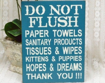 Do Not Flush, Septic System Rules Sign, Bathroom Rules Decor, 9x12 Sign