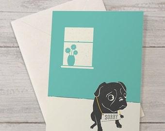 SALE 25% Off Cute Pug Sorry Card