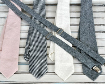 Linen Tie or Tie and Suspender Set