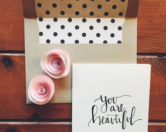 hand-lettered you are beautiful card