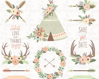"Floral Tribal clip art: ""FLORAL TEEPEE"" clipart, floral antlers, wedding floral, wreath. 27 images Png files 300 dpi. Instant Download Wd134"