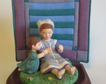 "The Amish Heritage Collection ""Sarah and Maggie"" 1993 Figurine w/Quilt"