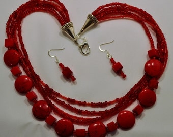 Red Statement necklace and earring set