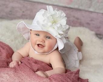 White Peony Sun Hat - Baby Girl Sun Hat - Baby Floppy Hat - Sun Hat - Baby - Flower Hat - Newborn Sun Hat - Infant Sun Hat - Newborn