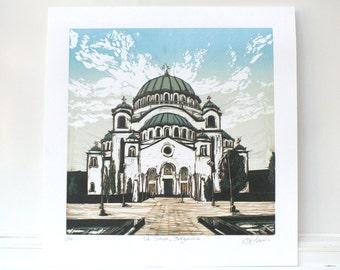 St Sava Orthodox Church #1, Linocut