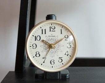 Alarm Clock, Russian Alarm Clock, Soviet Union Home Decor, Office Decor Clock, Beige Black White