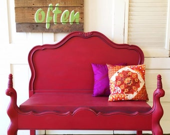 Upcycled Headboard Turned Funky Raspberry Painted Bench