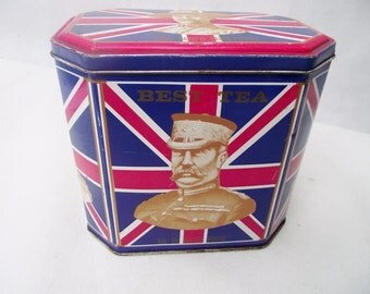 Vintage 1960's UNION JACK Tea Tinby DODO Designs Decorated with Generals