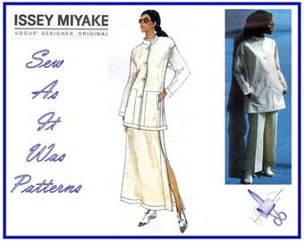 Vogue 1541 Uncut FF Issey Miyake Designer Original Sewing Pattern Long Jacket Skirt Pants Sizes 12 14 16 Bust 34 36 38 Mandarin Collar