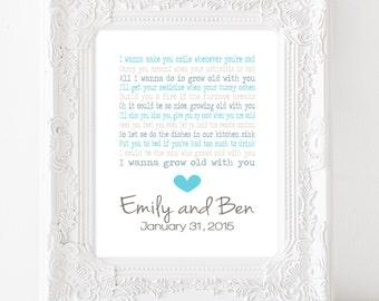 Wedding gift first dance personalised print - customised song lyrics-  wedding gift print- anniversary gift- first dance lyrics