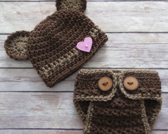 TEDDY BEAR Hat/Diaper Cover with tail, Heart Button Preemie Newborn to 6 mo Photo Props Baby Shower Bringing home baby outfit baby's 1st hat