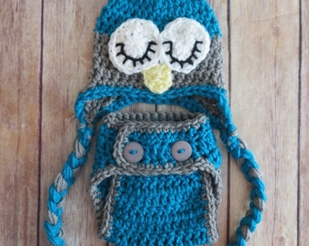 Crochet Owl Set, Blue with Grey SLEEPY OWL Hat, Diaper Cover, Hat with braids, Newborn Photo Prop bringing home baby outfit baby shower gift