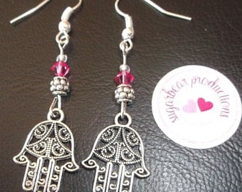 Silver Hasma, Hamsa Hand of God earrings with Pink crystals,silver spacersglass spacers, french hooks,made by sugarbearproductions