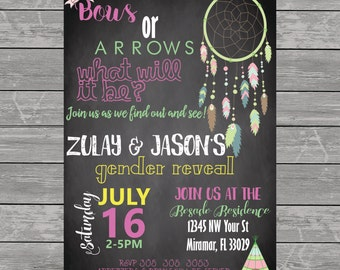 dream catcher, bohemian, tribal, tepee, invites, invitations, gender reveal, baby shower, wedding, chalkboard, bows or arrows